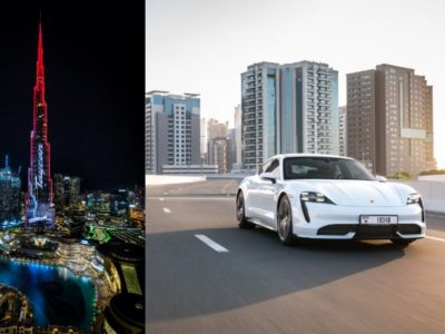 The all-new Porsche Taycan electrifies Burj Khalifa in Dubai!